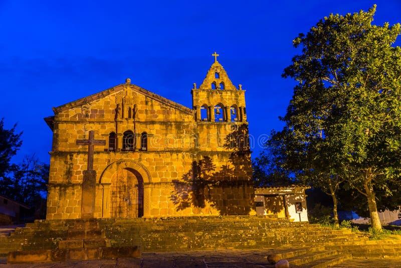 Santa Barbara Church Blue Hour. Santa Barbara church in Barichara, Colombia taken during the blue hour royalty free stock photo
