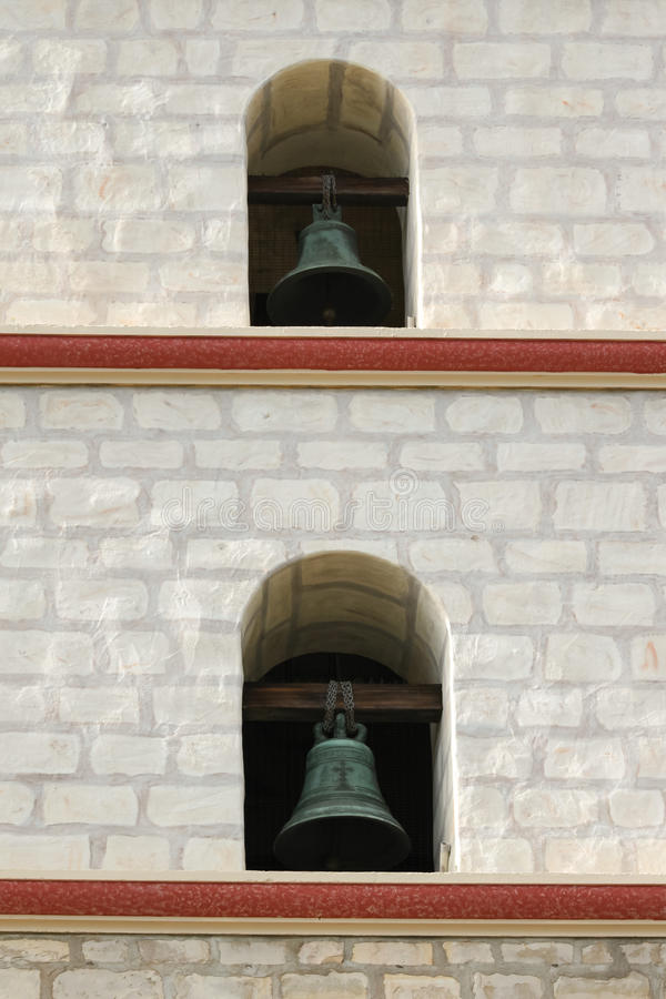 Santa Barbara Mission Bells. Focus on two of the Santa Barbara Mission bells stock images