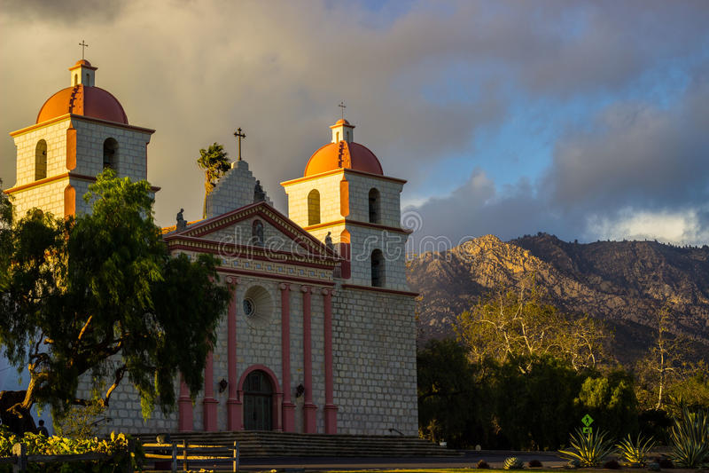 Santa Barbara Mission. Spanish mission founded by the Franciscan order near present-day Santa Barbara, California royalty free stock image