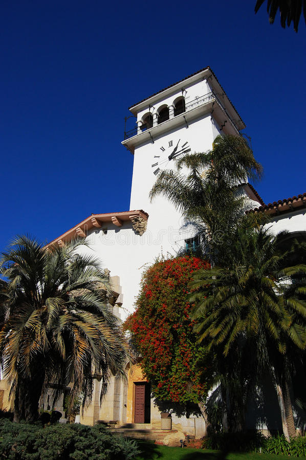 Santa Barbara Superior Court, California, USA. Santa Barbara Superior Court, a Spanish Colonial Revival style building completed in 1929, California, USA royalty free stock photography