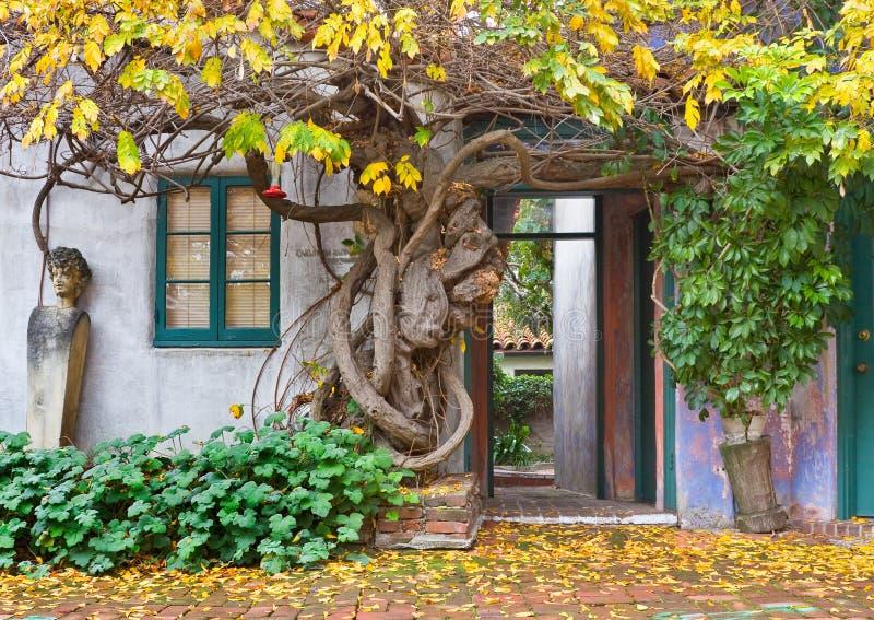 Santa Barbara Walkway. A patio area and walkway in a public park in Santa Barbara, California royalty free stock photo
