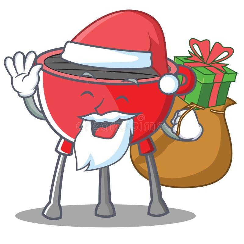 Santa Barbecue Grill Cartoon Character royalty free illustration