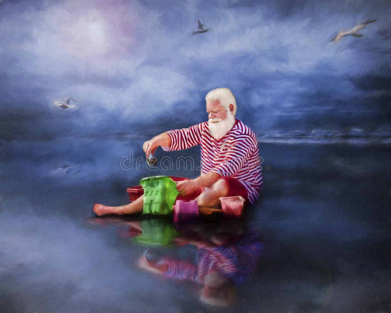 Santa on beach. Santa in red and white striped shirt and shorts playing in sand on beach with seagulls royalty free stock images