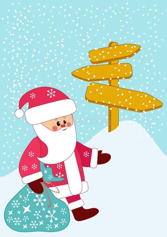 Santa bears a bag of gifts. stock image