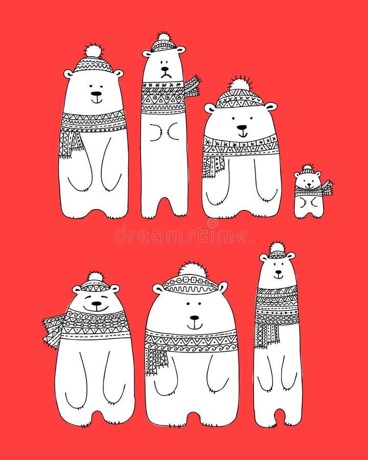 Santa bears family, sketch for your design vector illustration