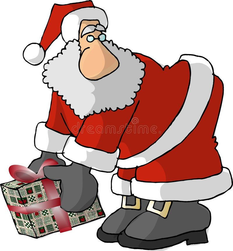 Santa with a big nose and a wrapped gift royalty free illustration