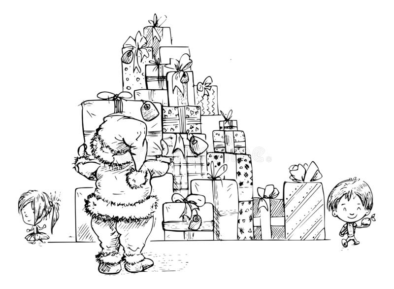 Santa and a big tower of presents. Santa is making a big tower of lots of presents. Two little kids are standing beside him vector illustration