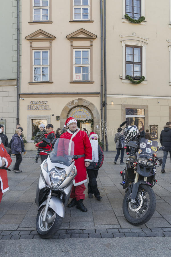 Santa bikers stock photos