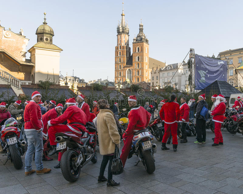 Santa bikers stock photo