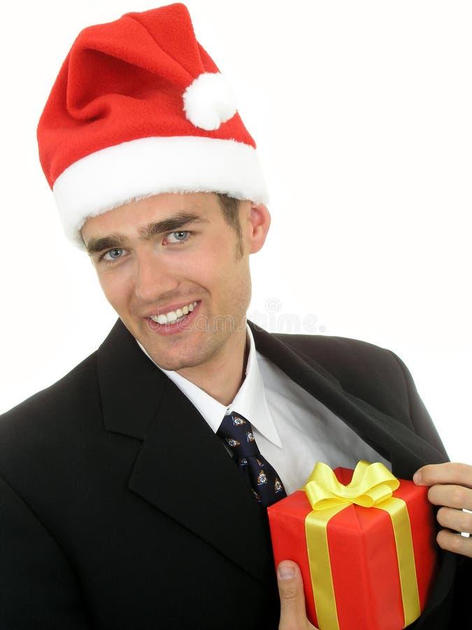 Santa biznesmen nosić kapelusz zdjęcie royalty free