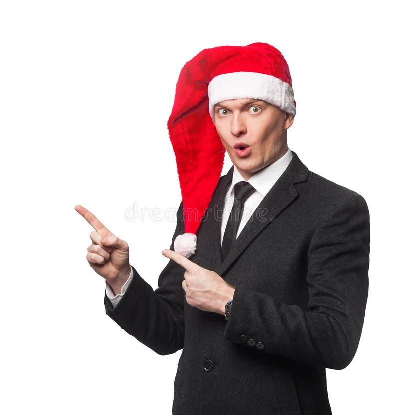 Santa biznesmen pokazuje na pustym tle obraz stock