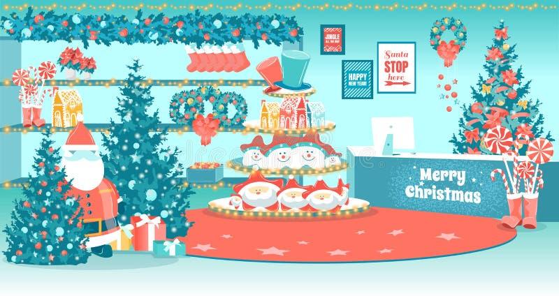 Santa Boże Narodzenie sklep płaski wnętrze royalty ilustracja