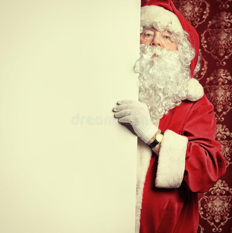 Santa With A Board Royalty Free Stock Images