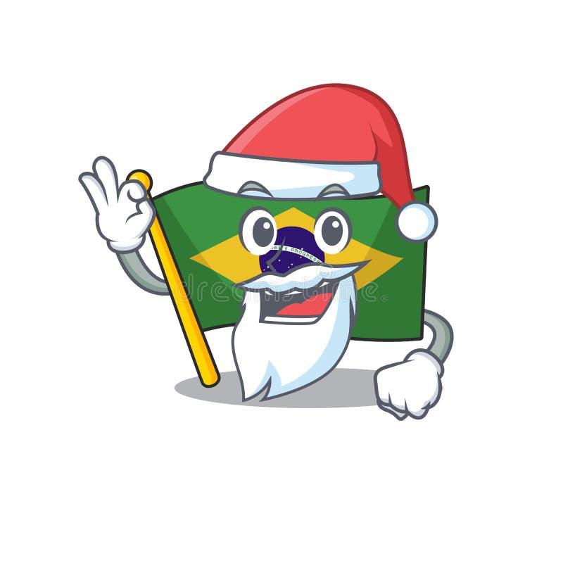 Santa brazil flag kept in mascot drawer. Illustration vector stock illustration