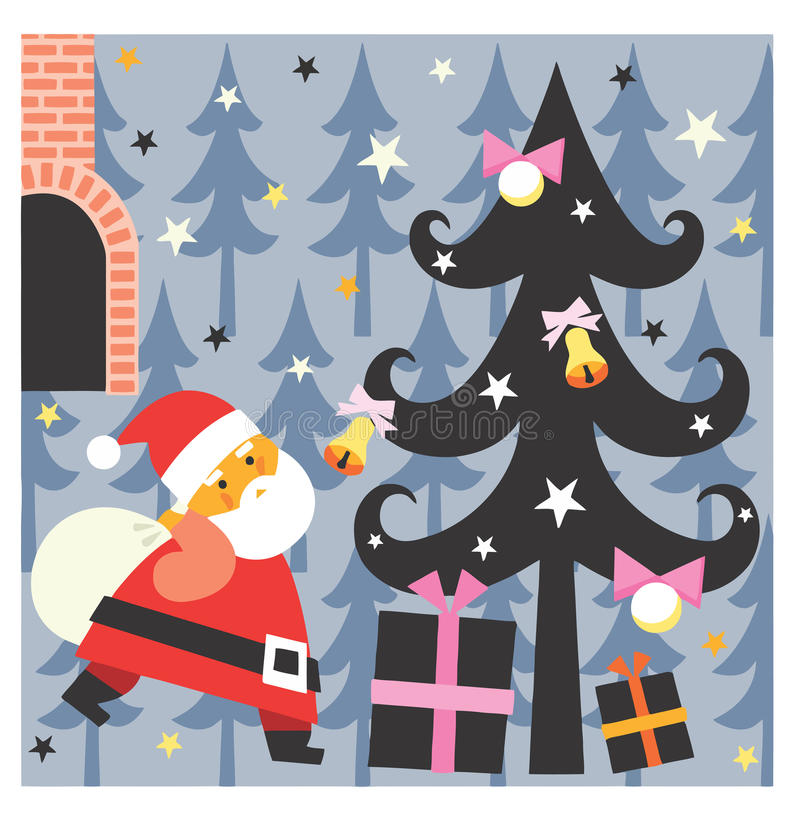 Santa brings presents stock photos