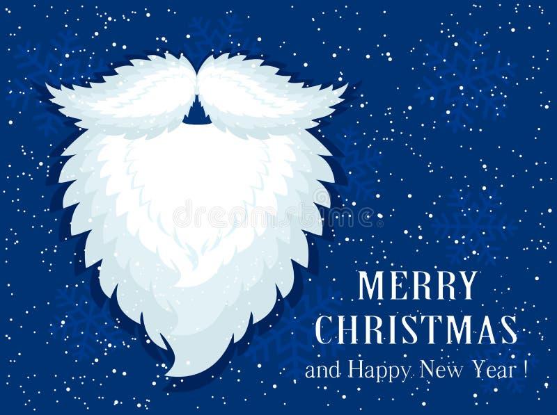 Santa broda na błękitnym śnieżnym tle ilustracja wektor