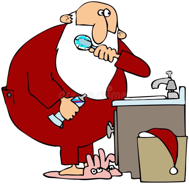 Download Santa Brushing His Teeth stock illustration. Illustration of sink - 14222585