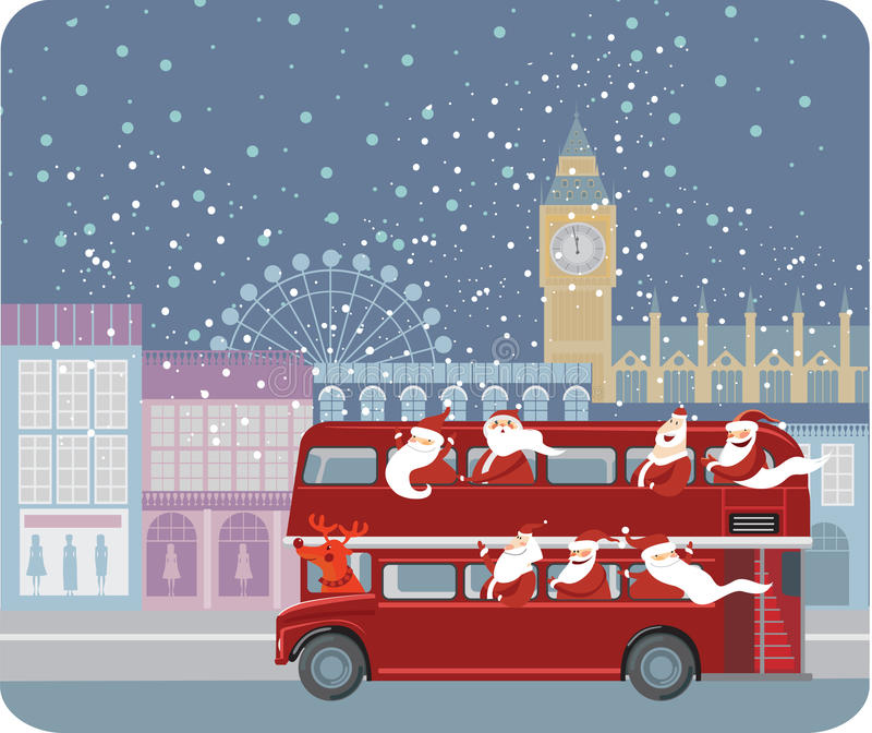 Santa bus royalty free illustration