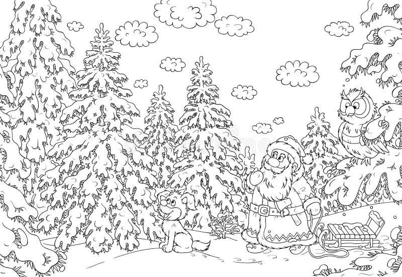 Santa busca un árbol de navidad ilustración del vector