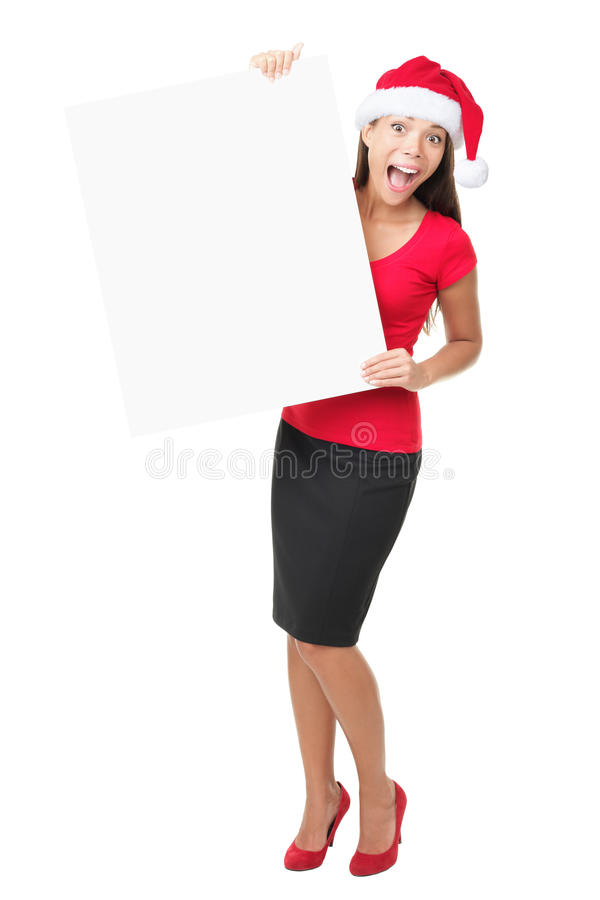 Download Santa Business Woman Holding Banner Sign Stock Image - Image: 16124753