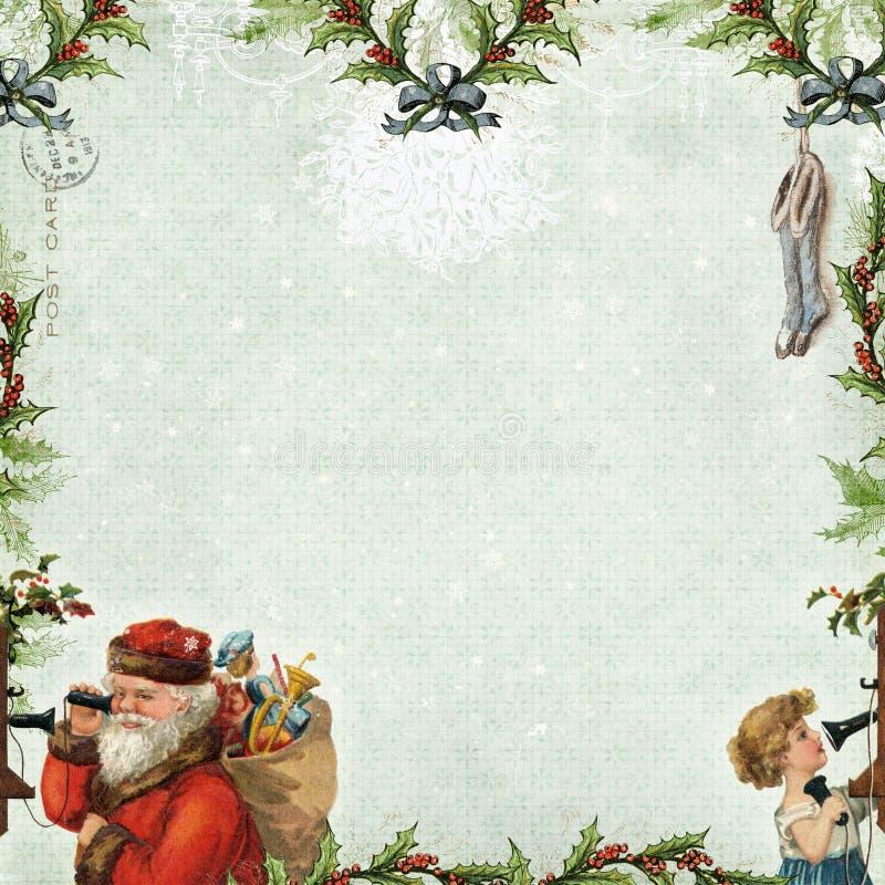 Santa Calling Christmas Scrapbook Paper bakgrund royaltyfri illustrationer