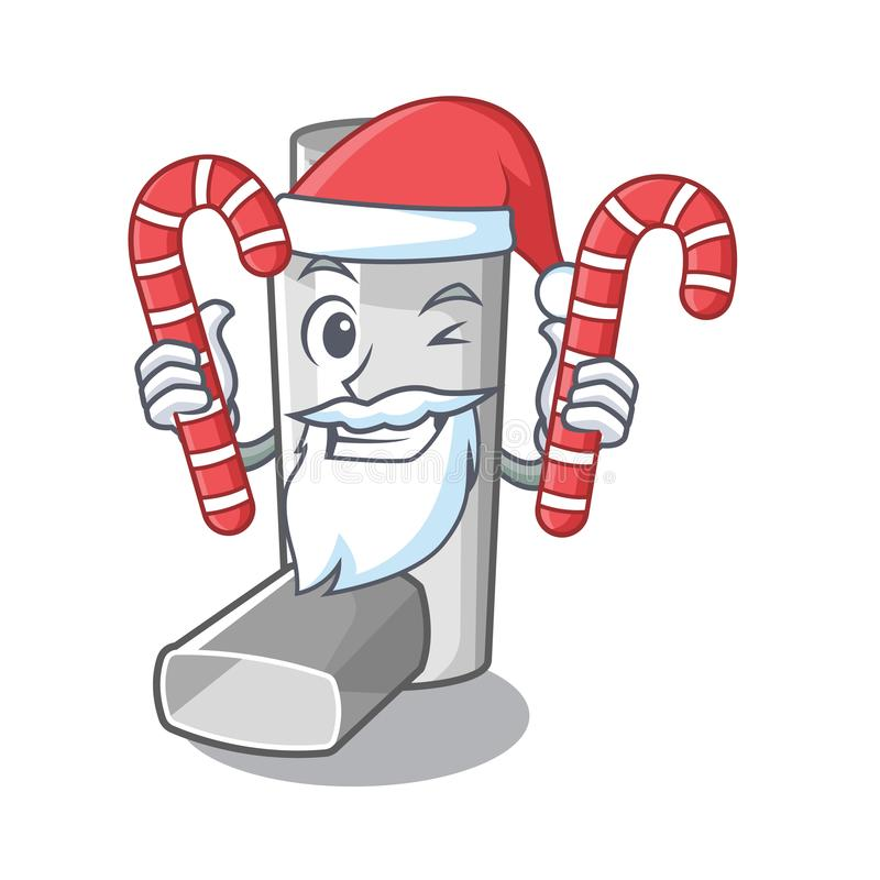 Santa with candy asthma inhaler in the character bag. Vector illustration stock illustration