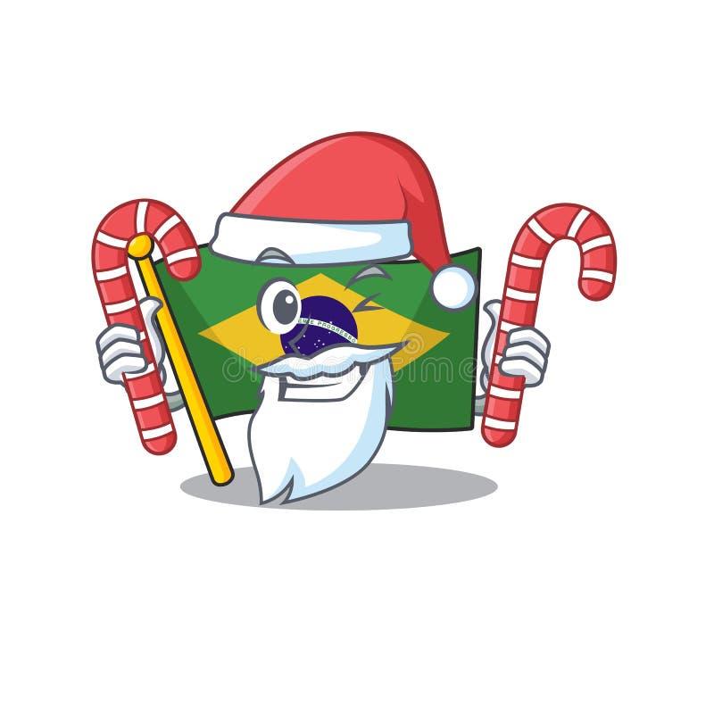Santa with candy brazil flag kept in mascot drawer. Illustration vector stock illustration