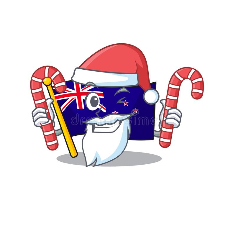 Santa with candy flag new zealand in cartoon drawer. Vector illustration vector illustration