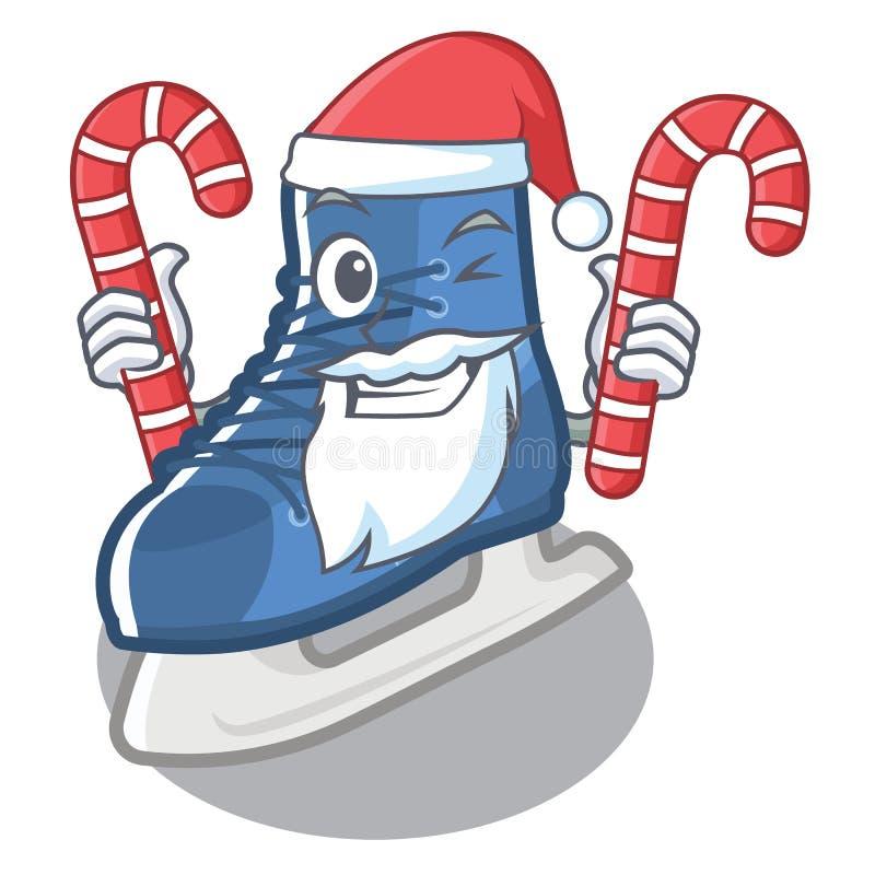 Santa with candy ice skate on a cartoon chair stock illustration