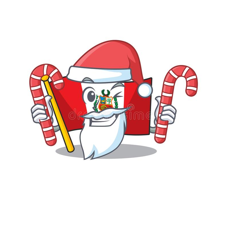 Santa with candy peru flag stored in character drawer. Vector illustration stock illustration