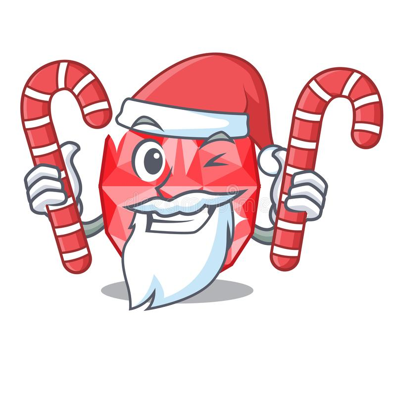 Santa with candy ruby gems in the mascot shape. Vector illustration royalty free illustration