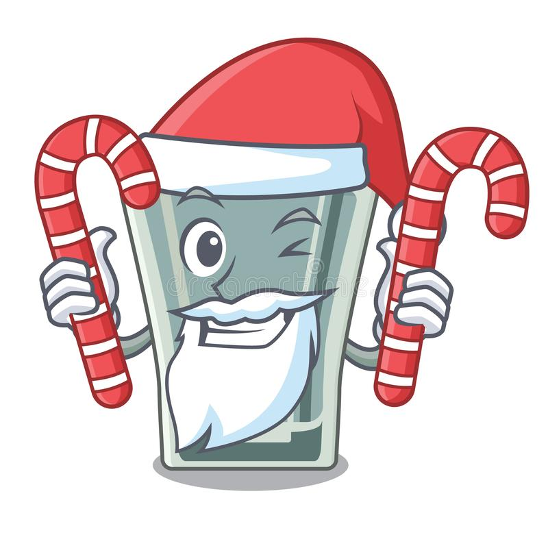 Santa with candy shot glass on wooden cartoon table stock illustration