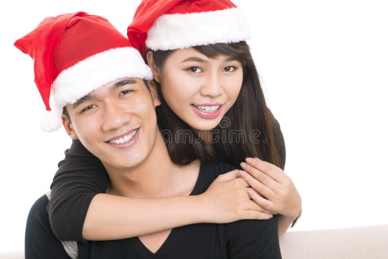 Santa cap couple stock photos