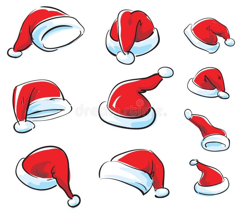 Santa cap vector set vector illustration