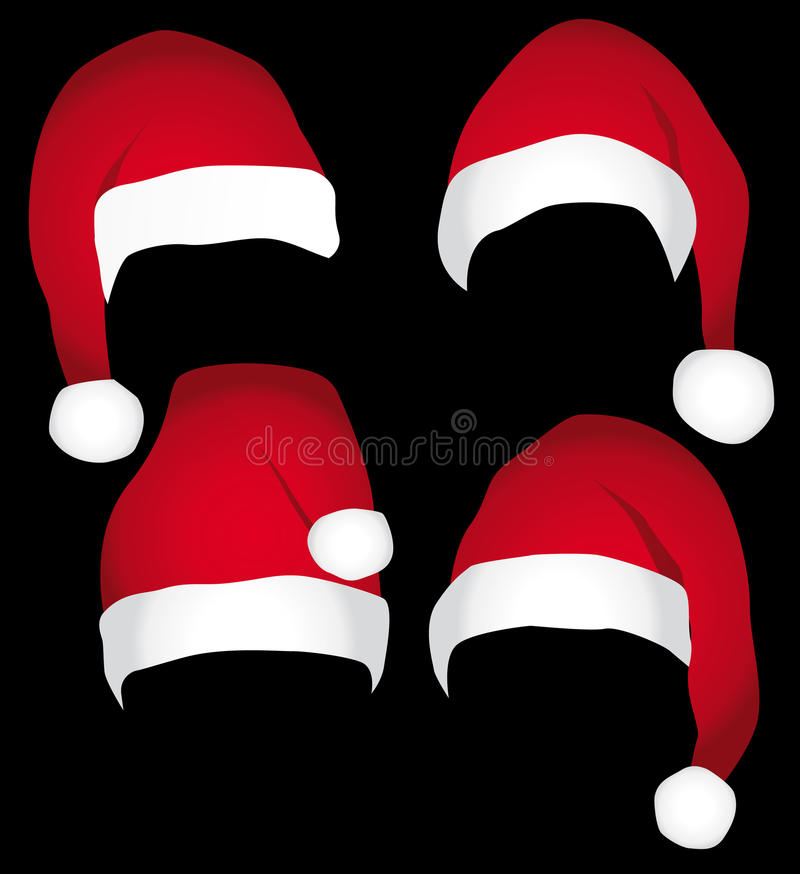 Download Santa caps  collection. stock vector. Image of pompon - 11900773