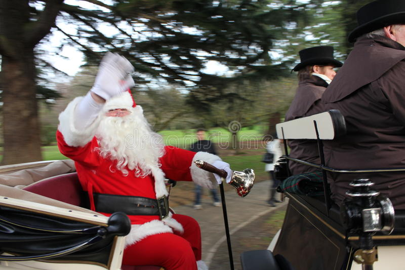 Santa in a Carriage stock images
