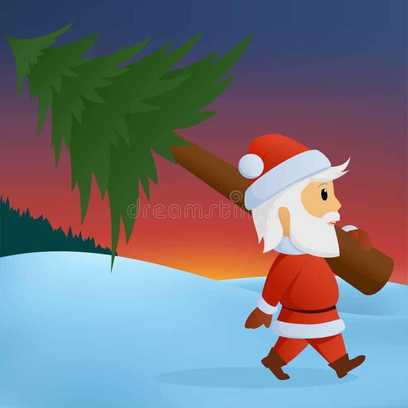Santa carry the christmas tree on winter background stock illustration