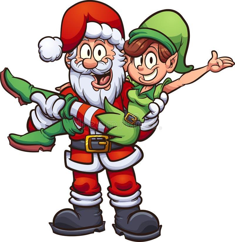Cartoon Santa Claus Carrying elf vector illustration