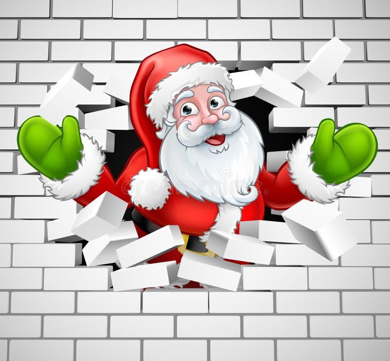 Santa Cartoon Breaking Through una pared de ladrillo stock de ilustración