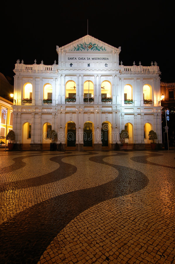 Santa Casa de Misericordia, Macau. The santa casa de misericordia in the senado square in Macau stock photo