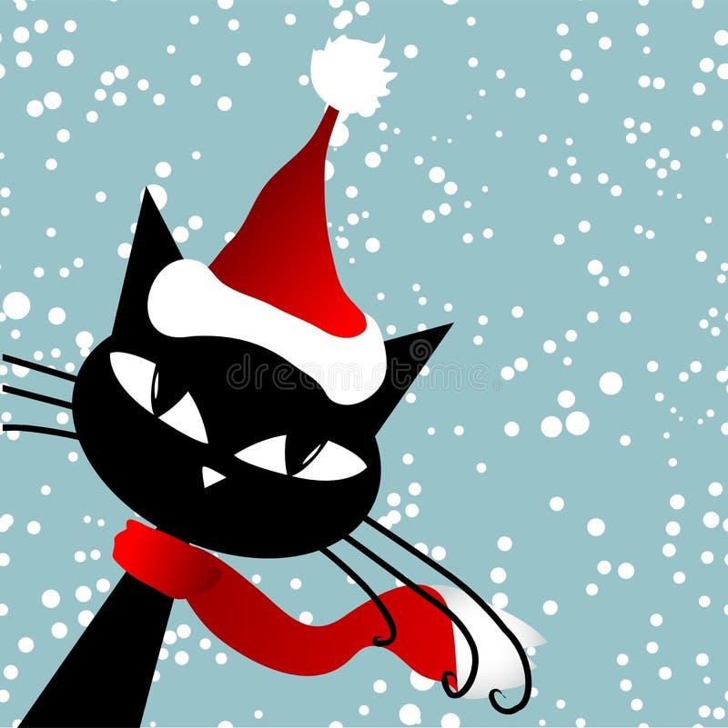 Santa cat. Christmas card. Vector illustration