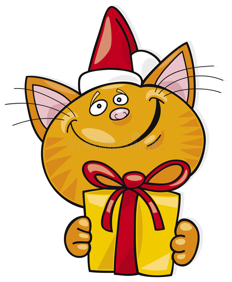 Santa cat with gift stock illustration