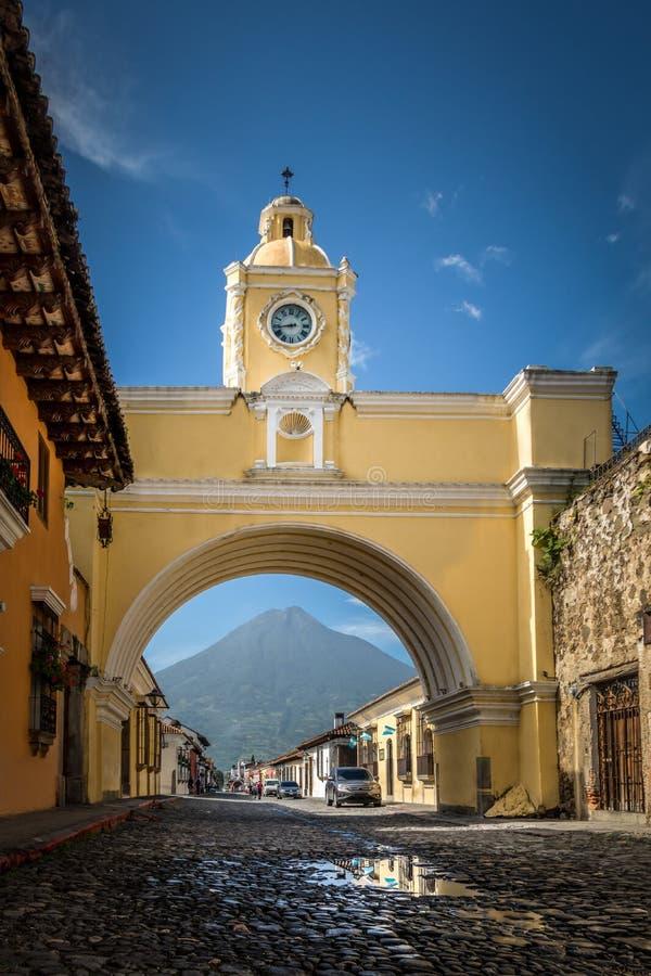 Santa Catalina Arch ans Agua Volcano - Antigua, Guatemala. Santa Catalina Arch ans Agua Volcano in Antigua, Guatemala stock photo