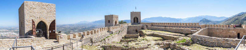 Santa Catalina castle interior panoramic view, Jaen, Spain stock photography