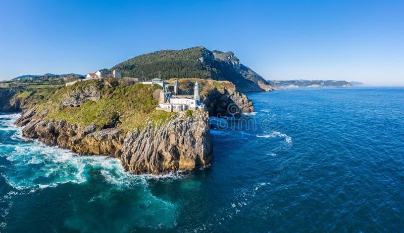 Santa Catalina fyr i Lekeitio - surrsikt royaltyfri fotografi