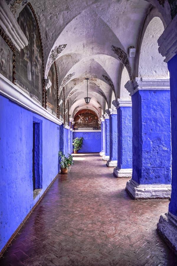 Santa Catalina Monastery i Arequipa Peru arkivbilder