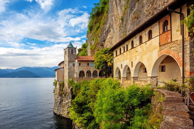 Monastery of Santa Caterina del Sasso on Lago Maggiore Lake, Italy royalty free stock photos