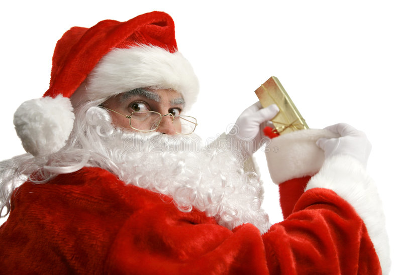 Santa Caught In Act stock images