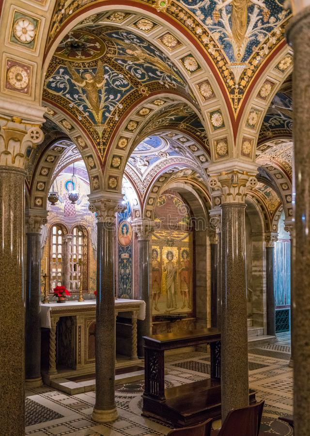 The crypt of Santa Cecilia in Trastevere Church in Rome, Italy. stock photography