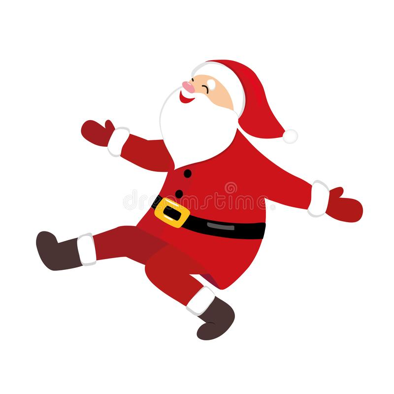 Santa che balla, carattere comico del fumetto divertente, danza popolare russa, isolata su fondo bianco royalty illustrazione gratis